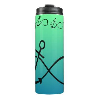 Anchor, Infinity & semi-colon Tumbler cup blu/grn