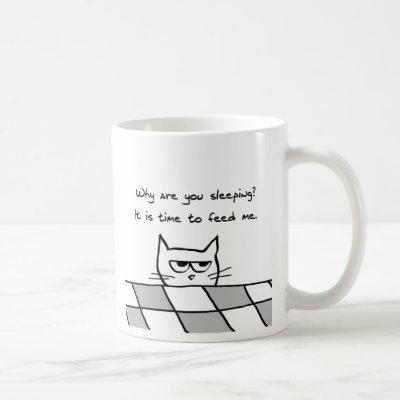 Angry Cat Wants You Out of Bed Coffee Mug