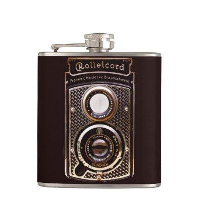 Antique camera rolleicord art deco hip flask