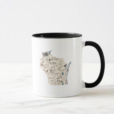 Antique Wisconsin Shaped Vintage Picture Map Mug