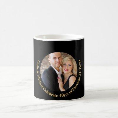 ANY Wedding Anniversary Black Gold Marble PHOTO Coffee Mug