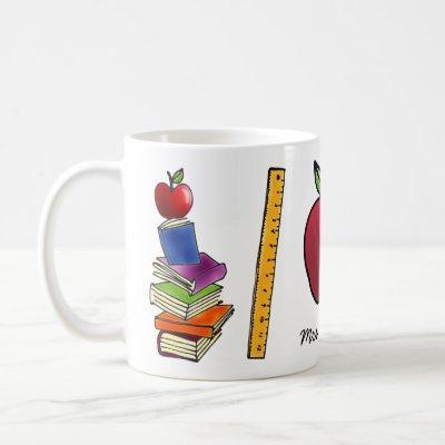 Apple with Book Stack Add Name Coffee Mug