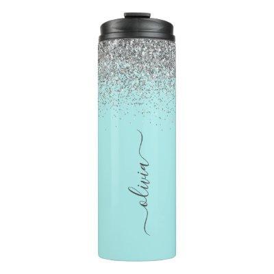 Aqua Blue Teal Silver Glitter Monogram Thermal Tumbler