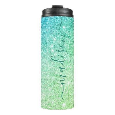 Aqua Ombre Sparkle Glitter Signature Script Name Thermal Tumbler