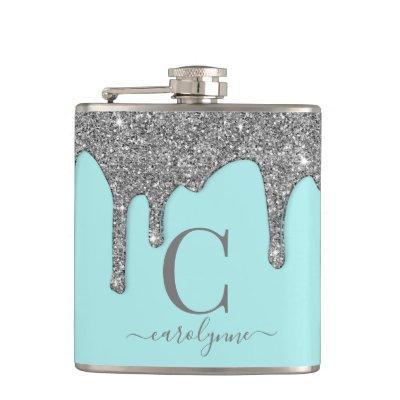 Aqua Teal Silver Sparkle Glitter Drips Monogram Flask