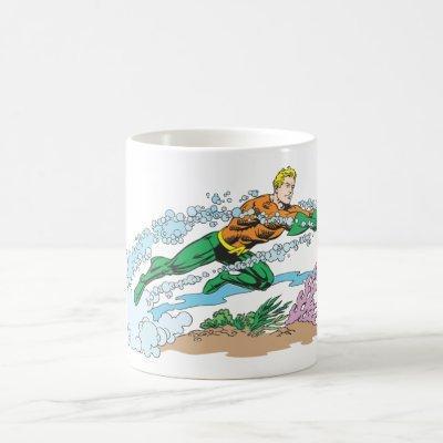 Aquaman Leaps Over Coral Coffee Mug