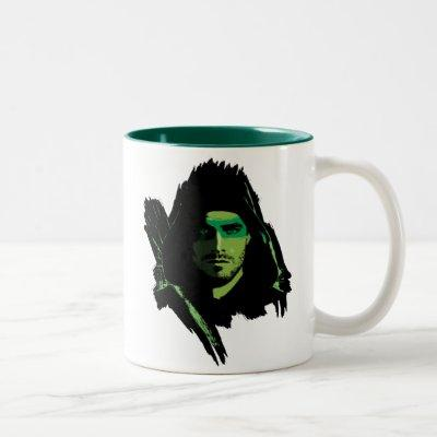 Arrow | Green Arrow Green Stylized Cutout Two-Tone Coffee Mug