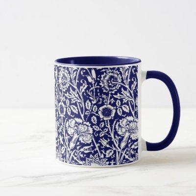 Art Nouveau Carnation Damask, Navy and White Mug