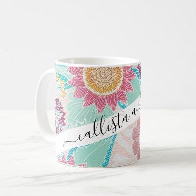 Artsy Pink Teal Flowers Leaves Oil Painted Pattern Coffee Mug
