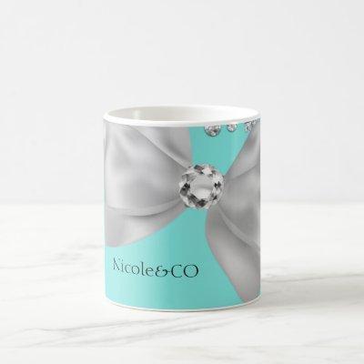 Audrey Girl Modern Blue Big White Bow Diamonds Coffee Mug