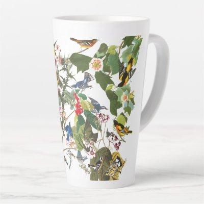 Audubon Collage of Birds Wildlife Floral Latte Mug