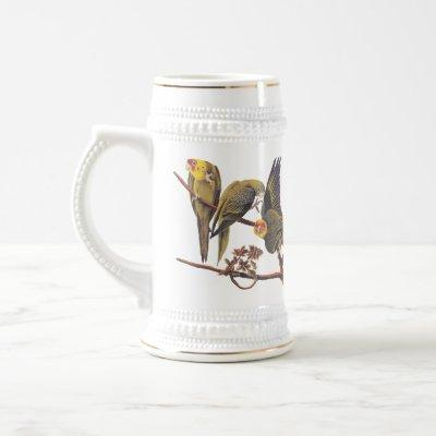 Audubon's Carolina Parakeet Trio of Extinct Birds Beer Stein