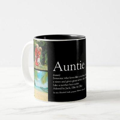 Aunt Auntie Definition 4 Photo Collage Modern Two-Tone Coffee Mug
