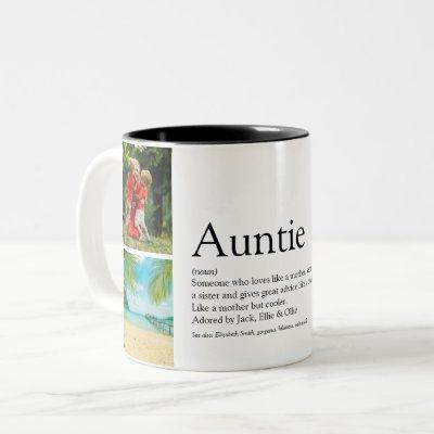Aunt, Auntie Definition 4 Photo Collage Two-Tone Coffee Mug