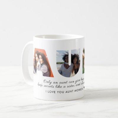 AUNT Photo Collage Love You Auntie Modern Script Coffee Mug