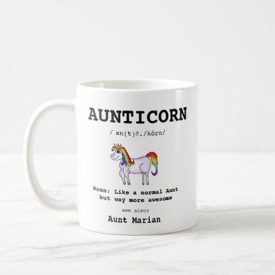 Aunt Unicorn Aunticorn Definition Typography Coffee Mug