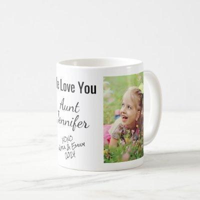 Aunt We Love You Personalized Photo & Names Coffee Mug