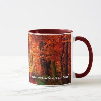 Autumn Path Fall Leaves Custom Text Coffee Gift Mug