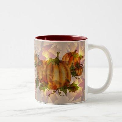 AUTUMN PUMPKIN LEAVES by SHARON SHARPE Two-Tone Coffee Mug