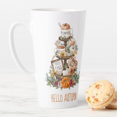 Autumn Watercolor Pumpkins Latte Mug