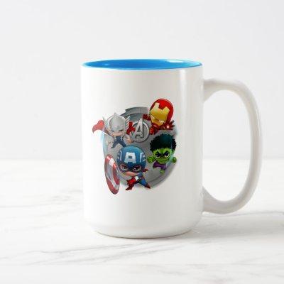 Avengers Classics | Chibi Avengers Assembled Two-Tone Coffee Mug