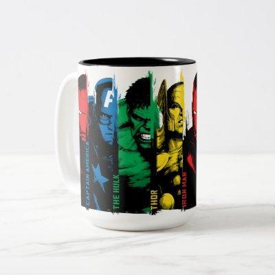 Avengers Classics | Paint Brush Lineup Two-Tone Coffee Mug