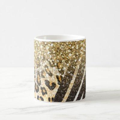 Awesome girly trendy gold leopard and zebra print coffee mug