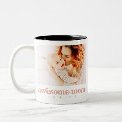 Awesome Mom Since 20XX Modern Mother's Day Two-Tone Coffee Mug