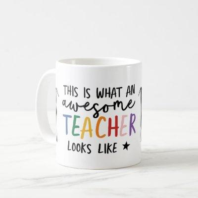 Awesome teacher modern typography rainbow gift coffee mug