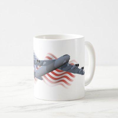 B-52 Strategic Bomber with American Flag Coffee Mug