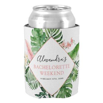 Bachelorette Weekend Party Tropical Palms Can Cooler