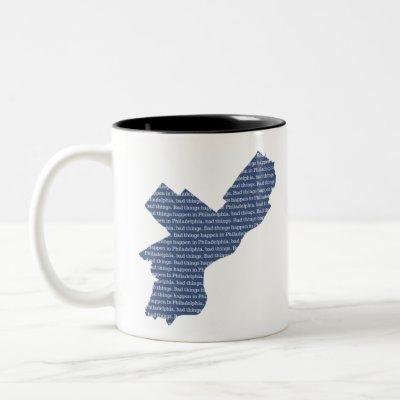 Bad Things Happen in Philadelphia: Map Fade Two-Tone Coffee Mug