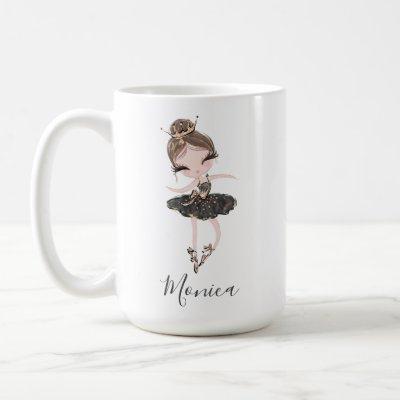 Ballerina Princess Girl Custom Name Ballet Gift Coffee Mug