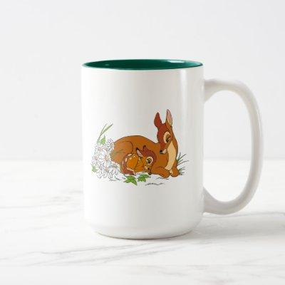 Bambi Resting With His Mother Two-Tone Coffee Mug