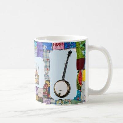 BANJO--BLUEGRASS BAND-QUILTED COFFEE MUG