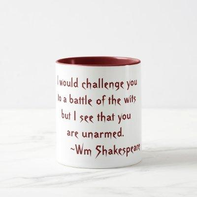 Battle of the Wits Shakespeare Quote Red and White Mug