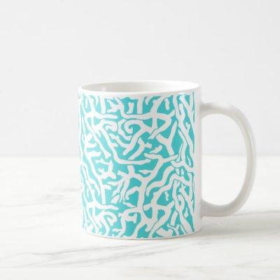 Beach Coral Reef Pattern Nautical White Blue Coffee Mug