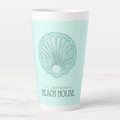 Beach House Clam Shell Aqua Blue ID623 Latte Mug