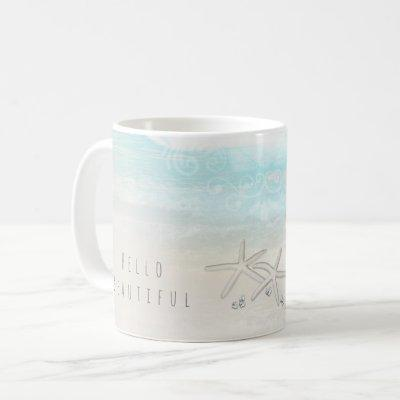 Beach White Starfish Elegant Summer Chic Tropical Coffee Mug