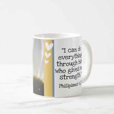 Beautiful Bible Verse Daisy Photo Template Custom Coffee Mug