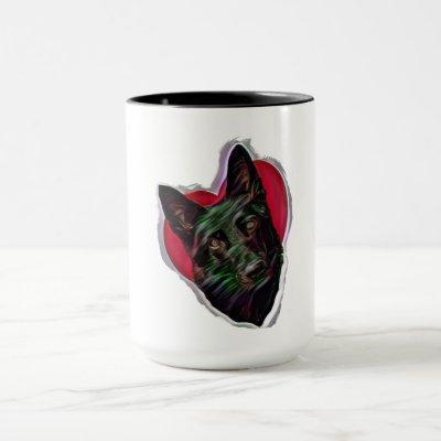 Beautiful Black German Shepherd PopArt Mug