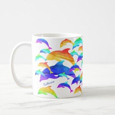 Beautiful Dolphins in Rainbow with First Name Coffee Mug