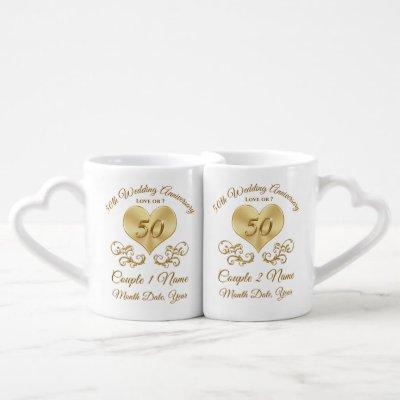 Beautiful Inexpensive Gifts for 50th Anniversary Coffee Mug Set
