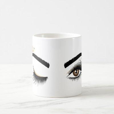 Beautiful long lashes winking eyes with crown coffee mug