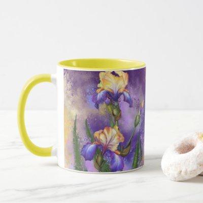 Beautiful Purple Iris Flower Migned Art Painting   Mug