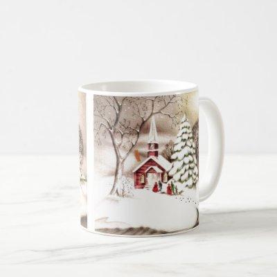 Beautiful Vintage Christmas Church Vintage Scene Coffee Mug
