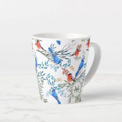 Beautiful Watercolor Birds and Foliage Pattern Latte Mug
