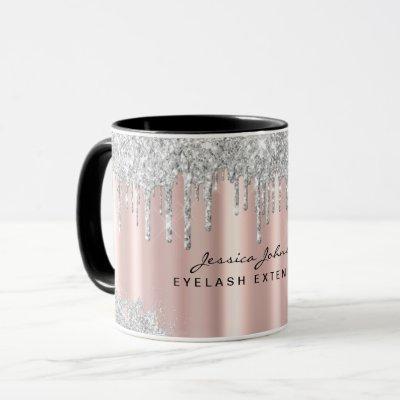 Beauty Rose Gold Silver Glitter Drips Custom Mug