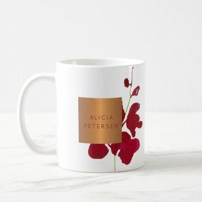 Beauty salon name glam copper watercolor blooms coffee mug
