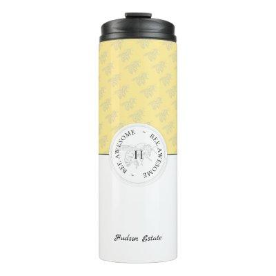 Bee Awesome Silver Honey Bee Personalized Monogram Thermal Tumbler